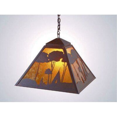 Wallowa 1-Light Swag Pendant Finish: Old Iron, Shade / Lens: Amber Mica