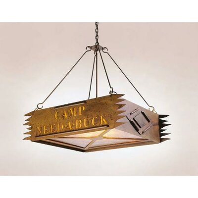 Camp 3-Light Personalized Pendant Finish: Black, Shade / Lens: Bungalow Green