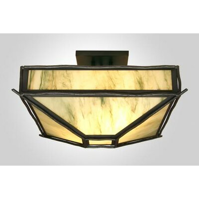 Sticks 4-Light Post Drop Semi Flush Mount Ceiling Light Finish: Old Iron, Shade Color: Amber Mica