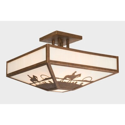 Cowboy Sunset Four Post Drop Semi Flush Mount Ceiling Light Finish: Old Iron, Shade Color: Amber Mica