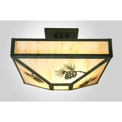 Pinecone 4-Light Post Drop Semi Flush Mount Ceiling Light Finish: Old Iron, Shade Color: Amber Mica