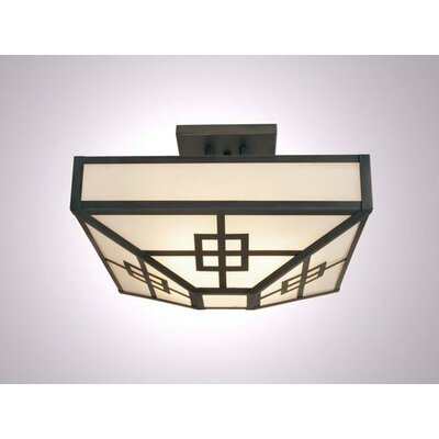 Prairie 4-Light Post Drop Semi Flush Mount Ceiling Light Finish: Architectural Bronze, Shade Color: Slag Glass Pretended