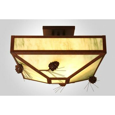 Ponderosa Pine 4-Light Post Drop Semi Flush Mount Ceiling Light Finish: Old Iron, Shade Color: Amber Mica
