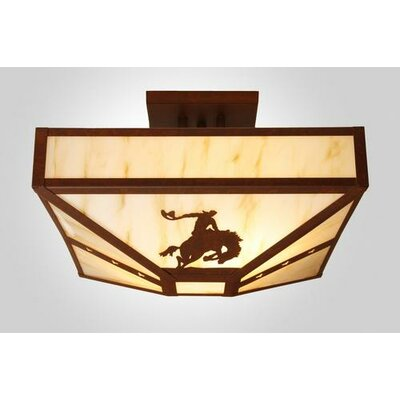 8 Seconds 4-Light Post Drop Semi Flush Mount Finish: Mountain Brown, Shade Color: White Mica