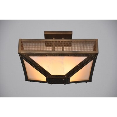 Rogue River 4-Light Post Semi Flush Mount Finish: Old Iron, Shade Color: Amber Mica
