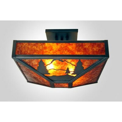 Timber Ridge 4-Light Post Drop Semi Flush Mount Finish: Old Iron, Shade Color: Amber Mica
