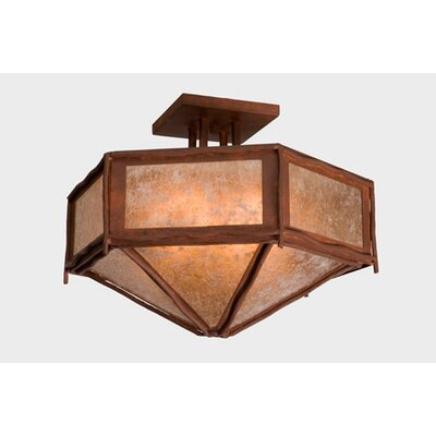 Sticks Hexagon Drop Semi Flush Mount Finish: Old Iron, Shade Color: Amber Mica