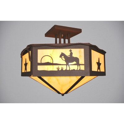 Cowboy Sunset Hexagon Semi Flush Mount Finish: Mountain Brown, Shade Color: Amber Mica