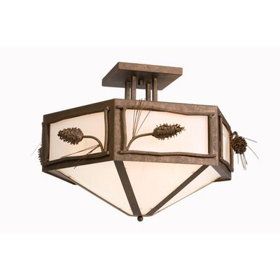 Ponderosa Pine Hexagon Drop Semi Flush Mount Finish: Old Iron, Shade Color: Slag Glass Pretended