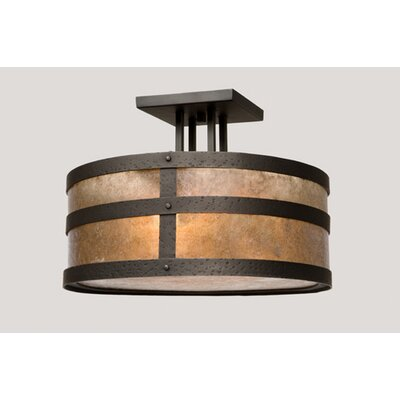 Portland Round Drop Semi Flush Mount Finish: Old Iron, Shade Color: Amber Mica