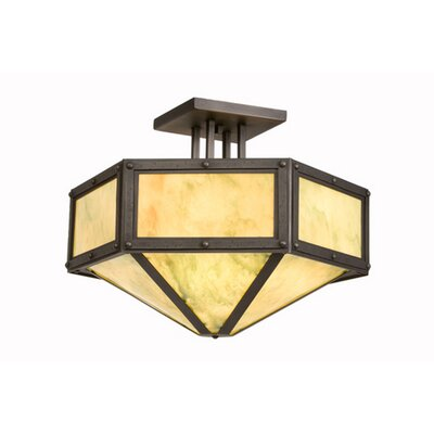 Rivets Hexagon Drop Semi Flush Mount Finish: Old Iron, Shade Color: Amber Mica