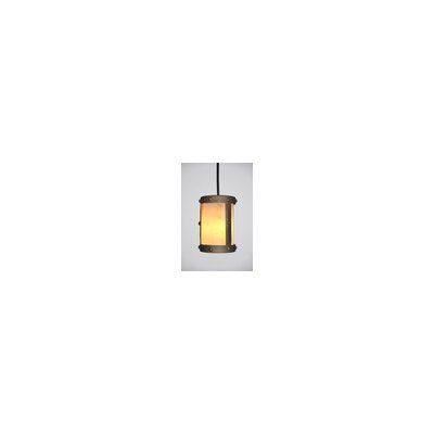 Rivets 1-Light Mini Pendant Finish: Black, Shade / Lens: Amber Mica