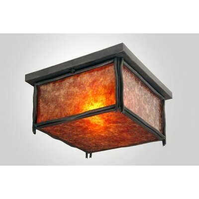 Sticks Squaroka Flush Mount Finish: Old Iron, Shade Color: Amber Mica