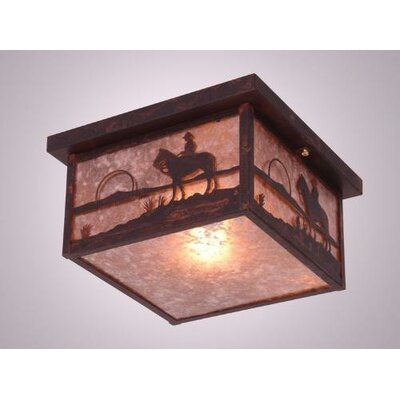 Cowboy Sunset Squaroka Flush Mount Finish: Old Iron, Shade Color: Slag Glass Pretended