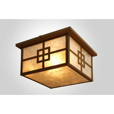 Prairie Squaroka Flush Mount Finish: Architectural Bronze, Shade Color: Slag Glass Pretended