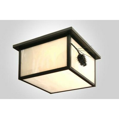 Ponderosa Pine Squaroka Flush Mount Finish: Black, Shade Color: Slag Glass Pretended