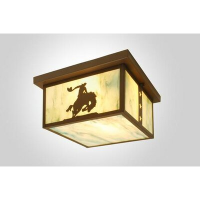 8 Seconds 1-Light Squaroka Flush Mount Finish: Old Iron, Shade Color: White Mica