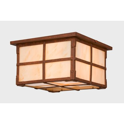 San Carlos 1-Light Squaroka Flush Mount Finish: Rust, Shade Color: Bungalow Green