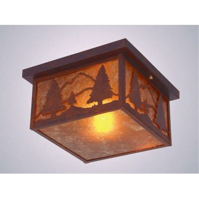 Timber Ridge Squaroka Flush Mount Finish: Old Iron, Shade Color: Amber Mica