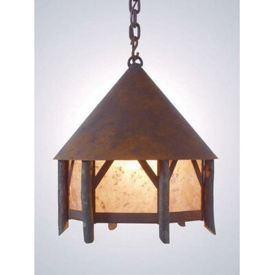 Campromise 1-Light Pendant Finish: Old Iron, Shade / Lens: Amber Mica