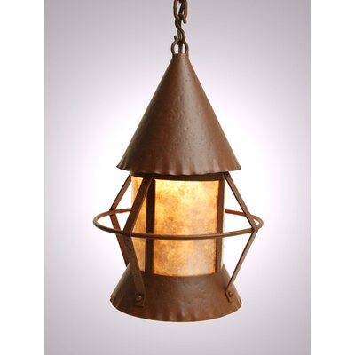 Gig Harbor 1-Light Pendant Finish: Old Iron, Shade / Lens: Amber Mica