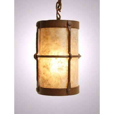 Ferron Forge 1-Light Pendant Finish: Old Iron, Shade / Lens: Amber Mica