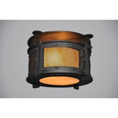 Rogue River 1-Light Harstene Mesh Flush Mount Finish: Old Iron, Shade Color: Amber Mica