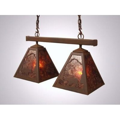 Bear Double Anacosti Light Pendant Finish: Old Iron, Shade / Lens: Slag Glass Pretended