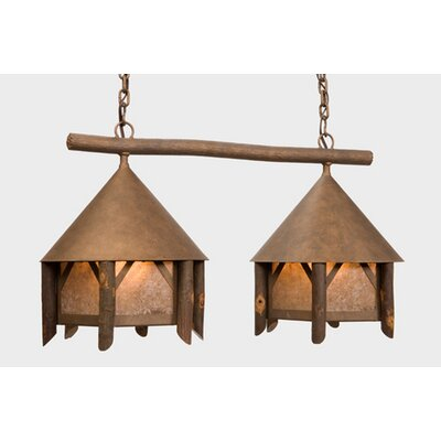 Campromise Double Anacosti Light Pendant Finish: Old Iron, Shade / Lens: Amber Mica