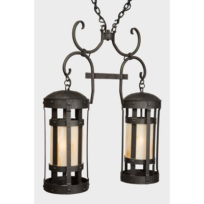 Duomo Double Anacosti Light Pendant Finish: Old Iron, Shade / Lens: Slag Glass Pretended