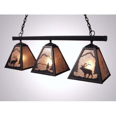 Elk Triple Anacosti Light Pendant Finish: Black, Shade / Lens: Slag Glass Pretended