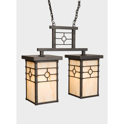 Historic California Double Anacosti Light Pendant Finish: Old Iron, Shade / Lens: White Mica