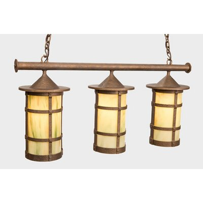 San Carlos Pasadena Triple Anacosti Light Pendant Finish: Old Iron, Shade / Lens: Bungalow Green