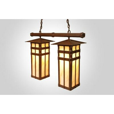 San Carlos Double Anacosti Light Pendant Finish: Old Iron, Shade / Lens: Slag Glass Pretended