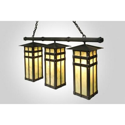 San Carlos Triple Anacosti Light Pendant Finish: Old Iron, Shade / Lens: Bungalow Green