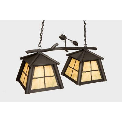 Saranac Double Anacosti Light Pendant Finish: Old Iron, Shade / Lens: Bungalow Green