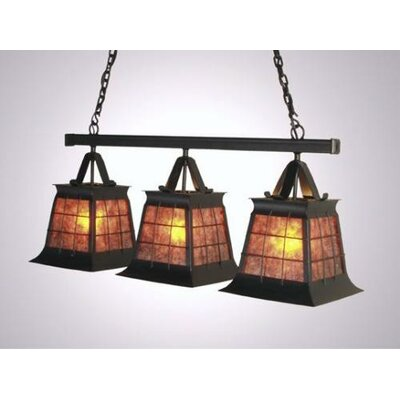 Top Ridge Triple Anacosti Light Pendant Finish: Old Iron, Shade / Lens: Bungalow Green
