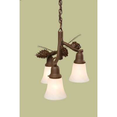 Ponderosa Pine Glacier 3-Light Kitchen Island Pendant Finish: Rust