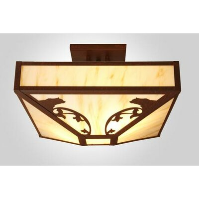 Bavarian Bear 4-Light Post Drop Semi Flush Mount Finish: Old Iron, Shade Color: Amber Mica