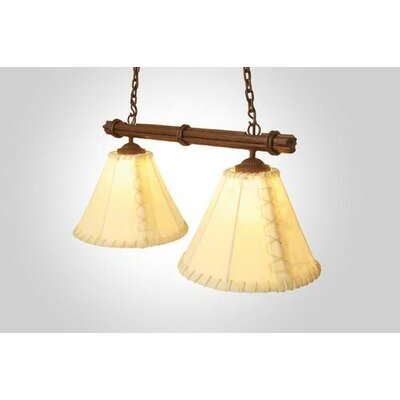 Sticks Round Rawhide Double Anacosti Light Pendant Finish: Old Iron, Shade / Lens: Natural Rawhide