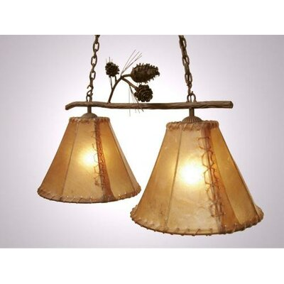 Ponderosa Pine Round Rawhide Double Anacosti Light Pendant Finish: Black, Shade / Lens: Antique Rawhide