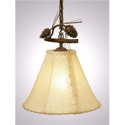 Ponderosa Pine Round Rawhide Anacosti 1-Light Pendant Finish: Old Iron, Shade / Lens: Natural Rawhide