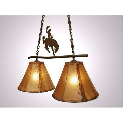 8 Seconds Round Rawhide Double Anacosti Light Pendant Finish: Black, Shade / Lens: Natural Rawhide