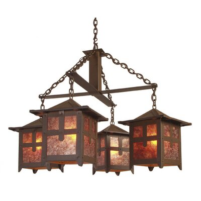 Hillcrest 4-Light Shaded Chandelier Finish: Old Iron, Shade / Lens: Amber Mica