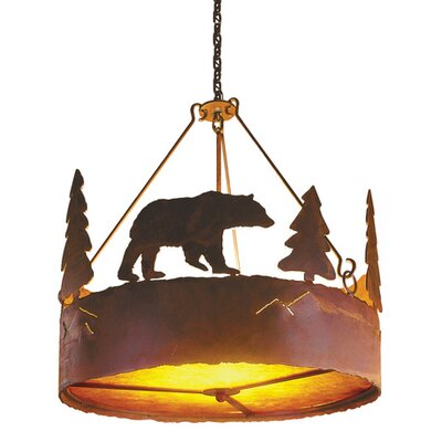 Bear 3-Light Drum Chandelier Finish: Rust, Shade / Lens: Amber Mica