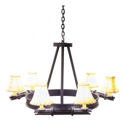 Bundle of Sticks 6-Light Shaded Chandelier Finish: Black, Shade / Lens: Natural Rawhide
