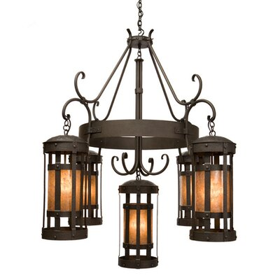 Duomo 5-Light Shaded Chandelier Finish: Architectural Bronze, Shade / Lens: Amber Mica