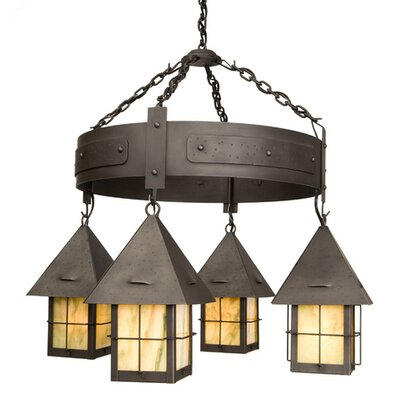 Lapaz 4-Light Round Shaded Chandelier Finish: Old Iron, Shade / Lens: Bungalow Green