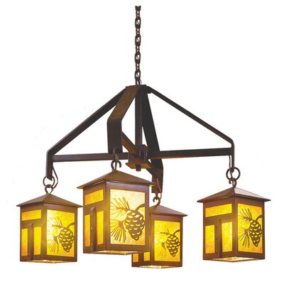 Mission 4-Light Shaded Chandelier Finish: Architectural Bronze, Shade / Lens: Bungalow Green