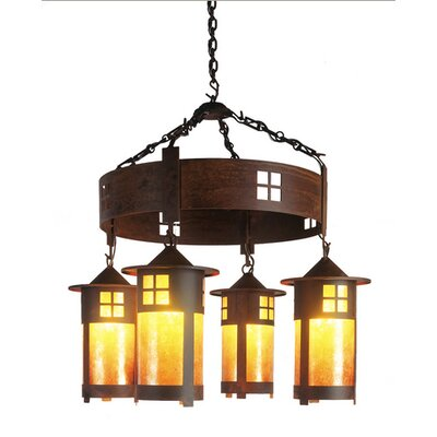 Pasadena 4-Light Shaded Chandelier Finish: Old Iron, Shade / Lens: Amber Mica